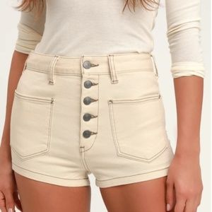 Free People | 29 Cream Button-Fly Demin Short